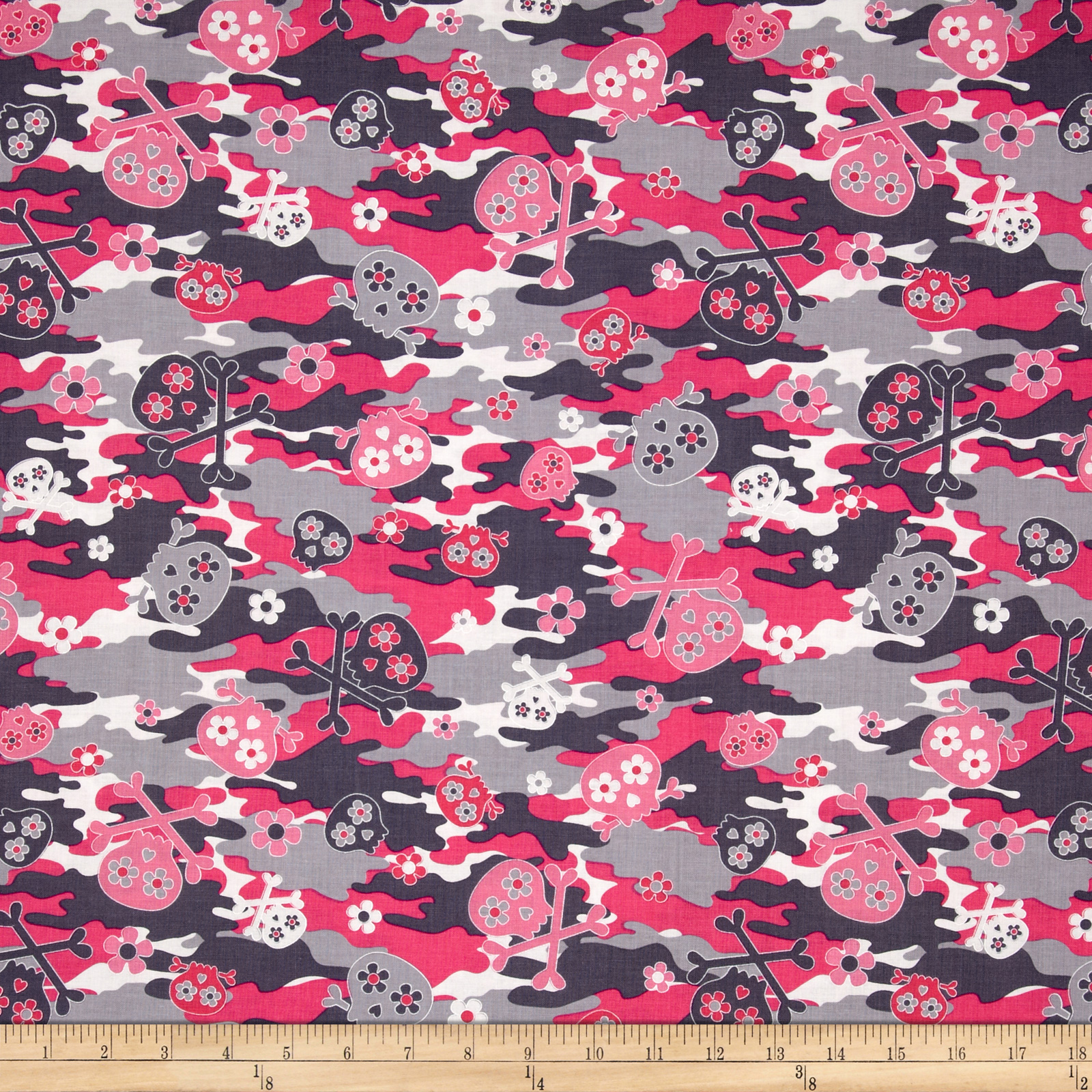 Kanvas Think Pink Camo Skulls Pink/Gray Fabric