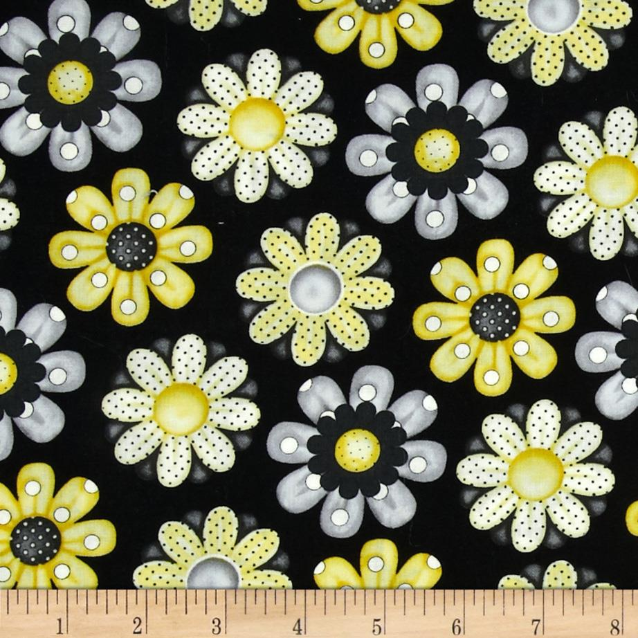 Bee Happy Daisies Black