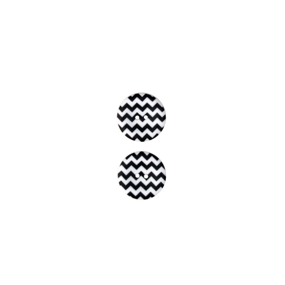 Riley Blake Sew Together 1 1/2 Matte Button Chevron Black/White