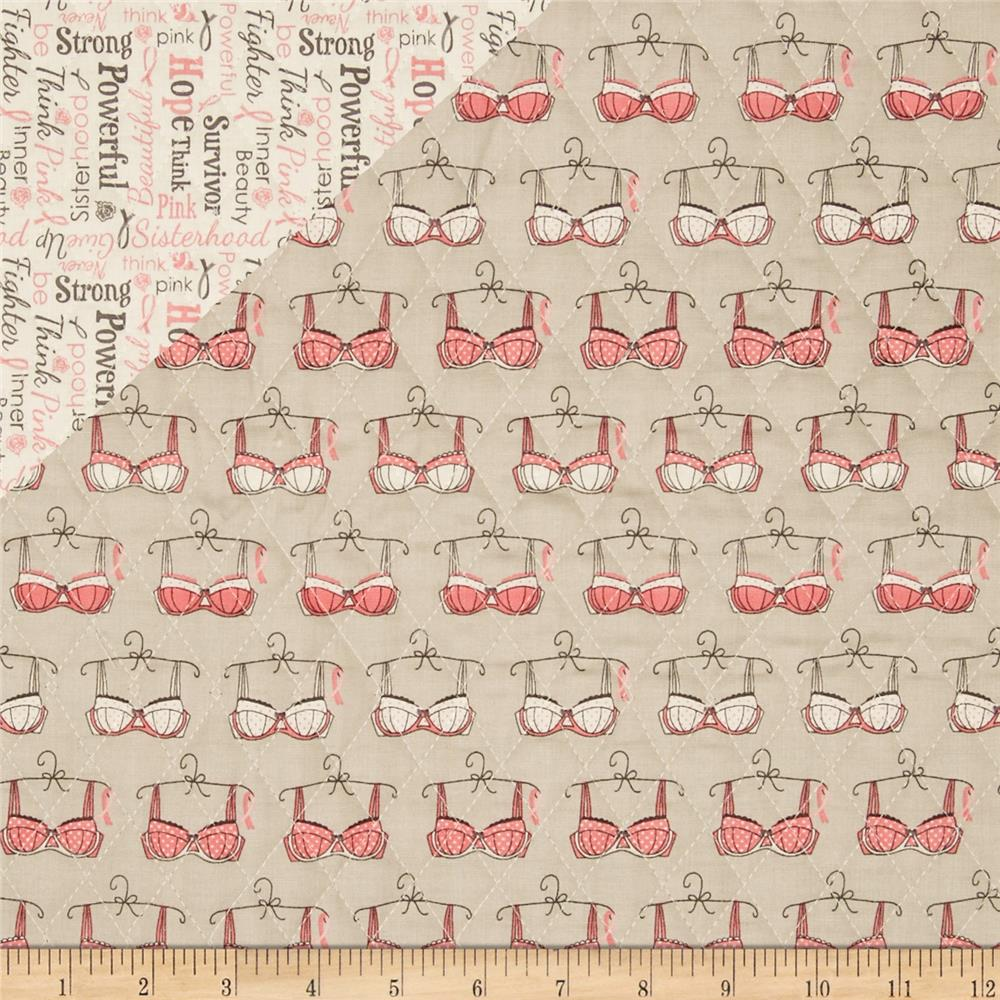 Riley Blake Double Sided Quilted Think Pink Grey