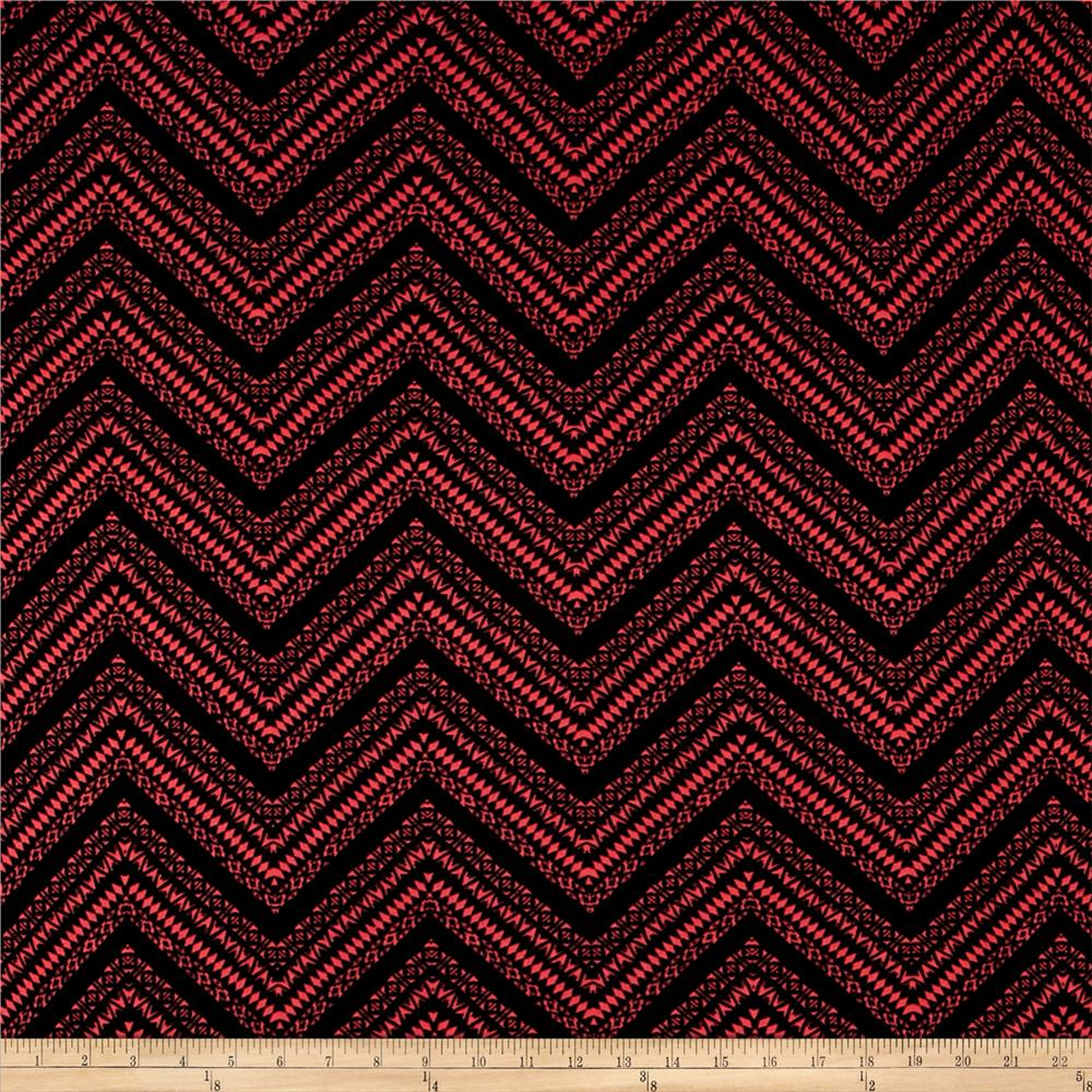Stretch ITY Knit Aztec Chevron Print Black Coral