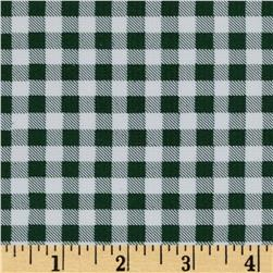 Oil Cloth Gingham Bottle Green Fabric