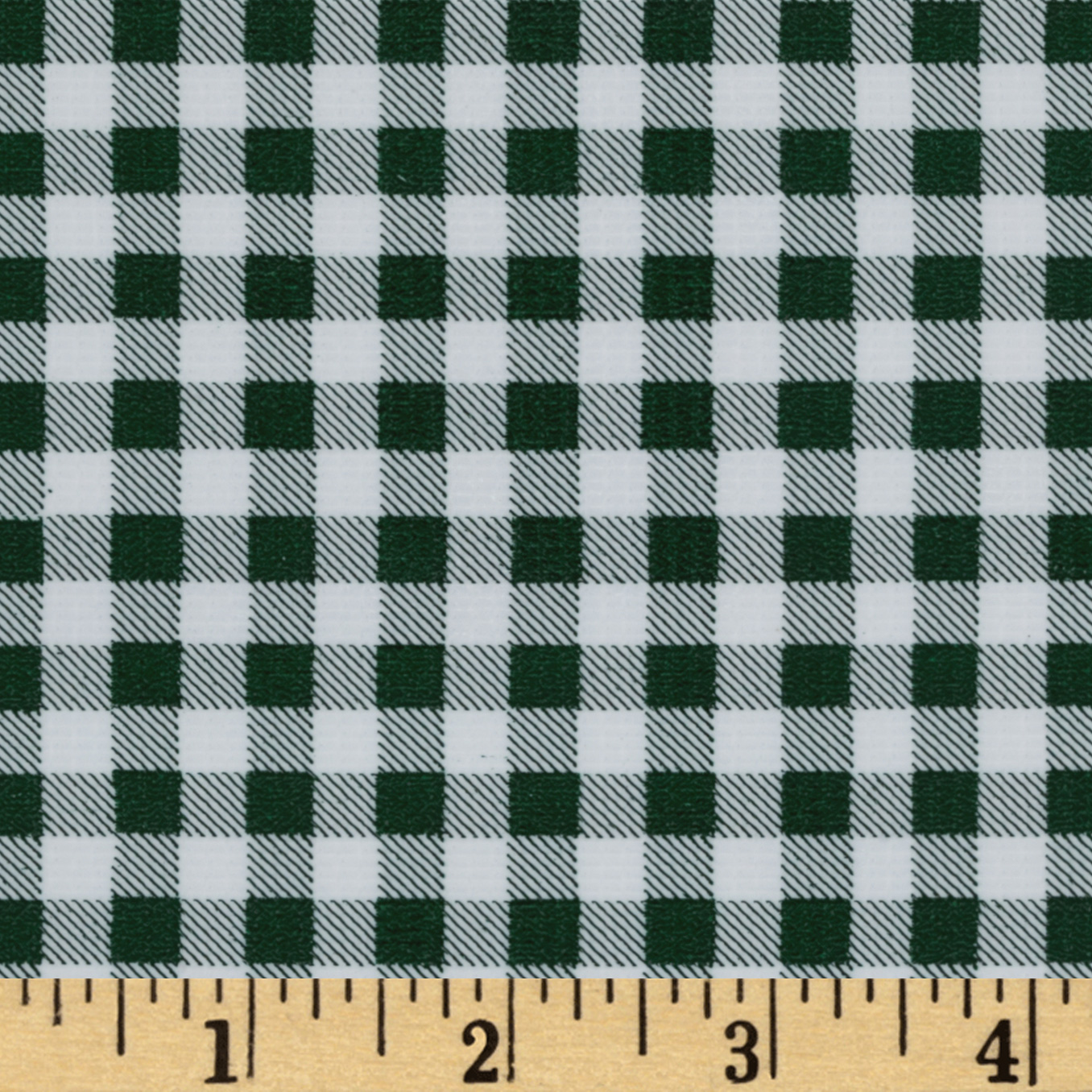 Oilcloth Gingham Bottle Green Fabric by Oilcloth International in USA