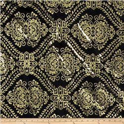 Starlight Sequined Mesh Damask Gold/Black Fabric