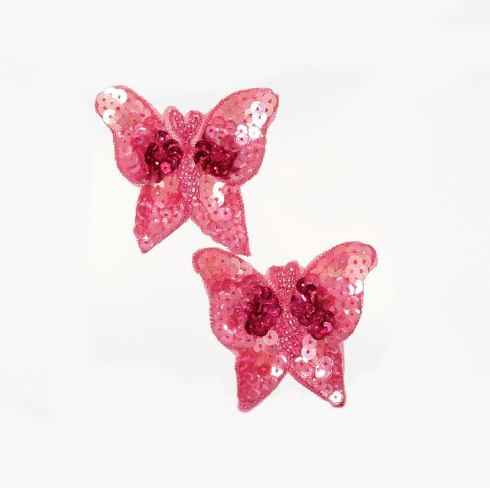 Butterfly Sequin Applique Pair Fuchsia