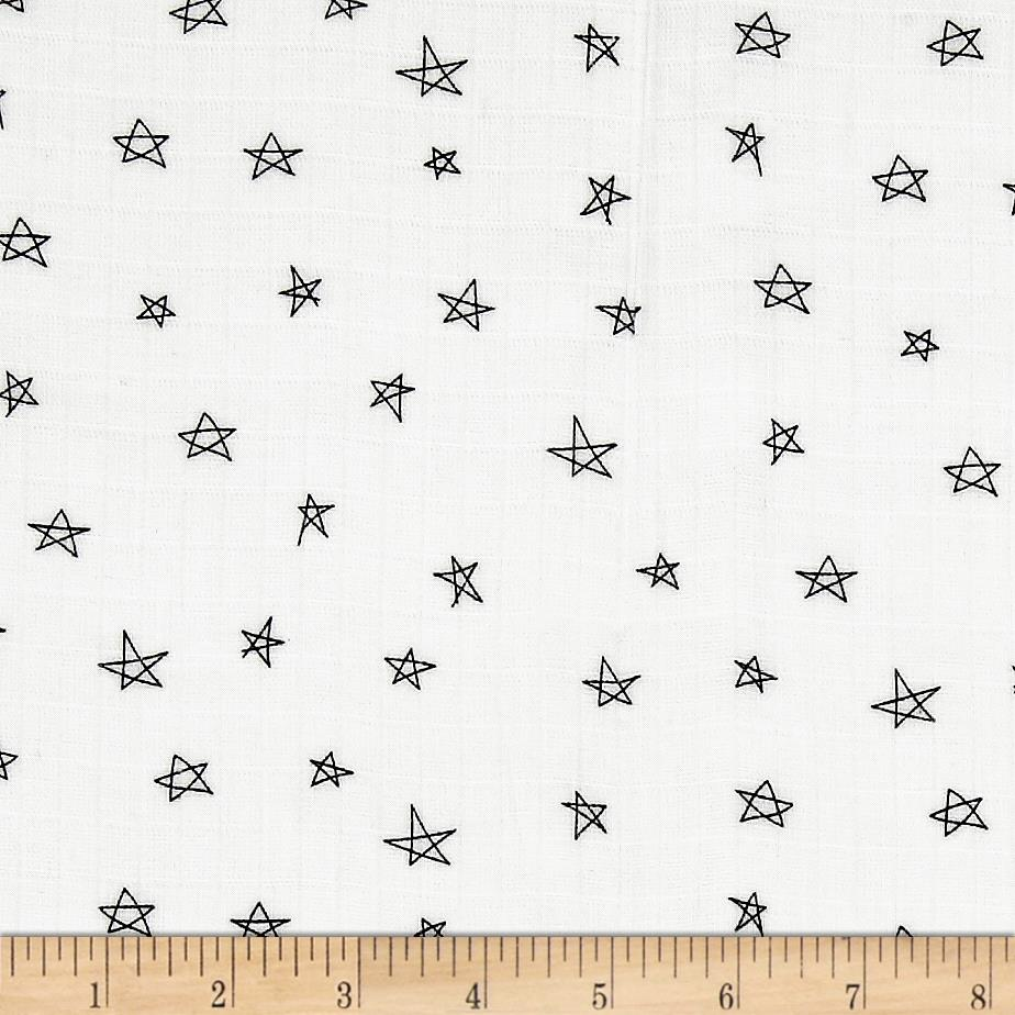 Riley blake double gauze when skies are grey star white for Star design fabric