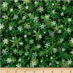 Holiday Accents Classics 2016 Falling Snow Green