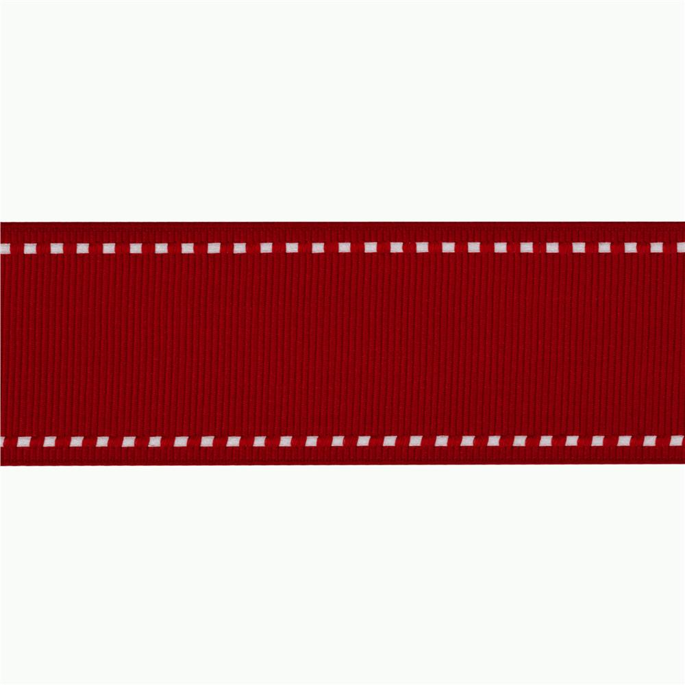 1 1/2'' Grosgrain Ribbon Saddle Stitch Red/White