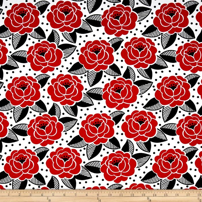Timeless Treasures Graphic Rose White