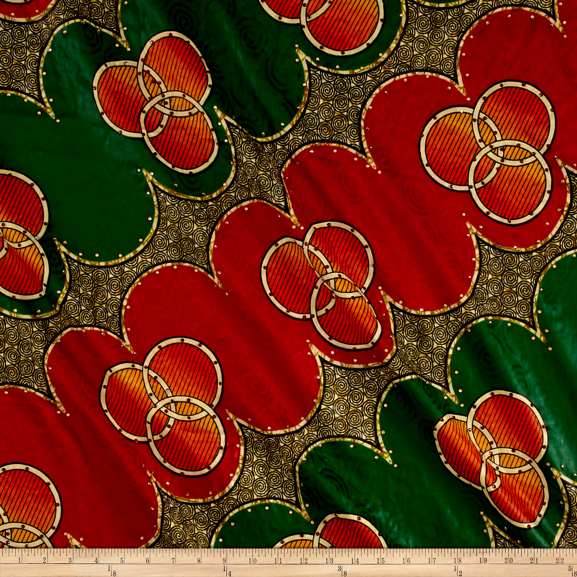Supreme Basin African Print Broadcloth 6 Yard With Rhinestones Red/green