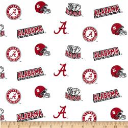Collegiate Cotton Broadcloth University of Alabama Red/White