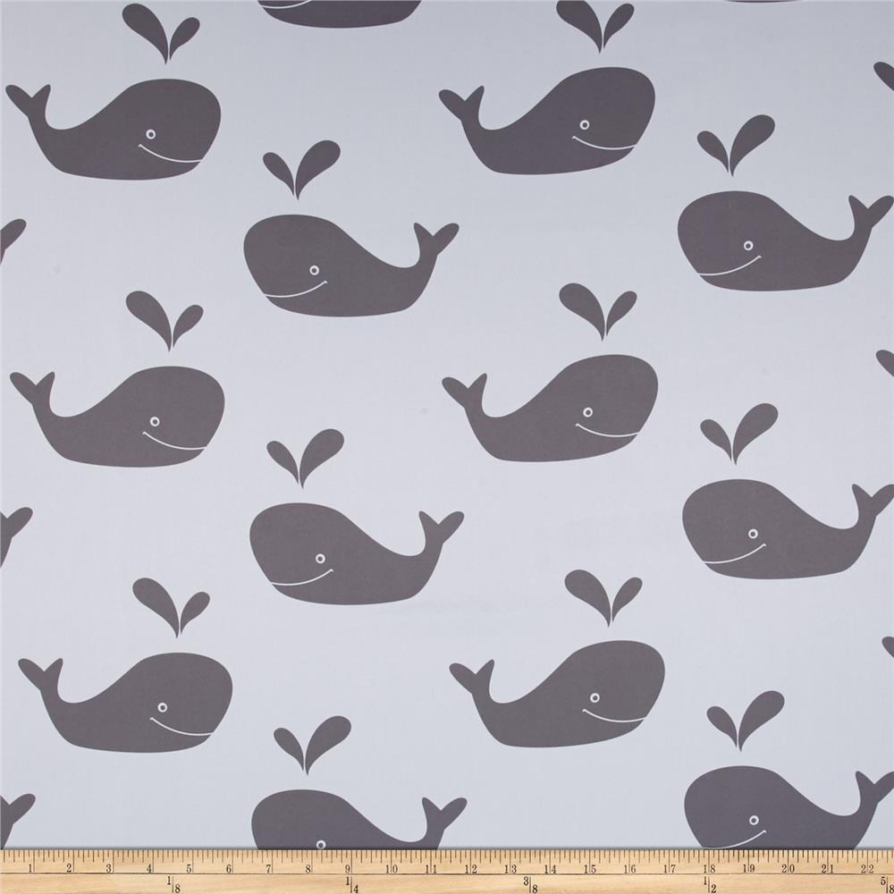 RCA Blackout Drapery Fabric Whales Grey