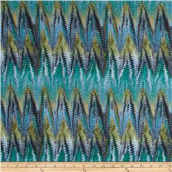 Stretch Soft Jersey Knit Shaky Chevron Green/Olive/Grey/Blue