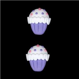 Novelty Button 7/8'' PR Cupcake Purple