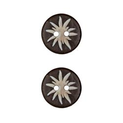 Dill Novelty Button 11/16'' Faux Wood Flourish Brown