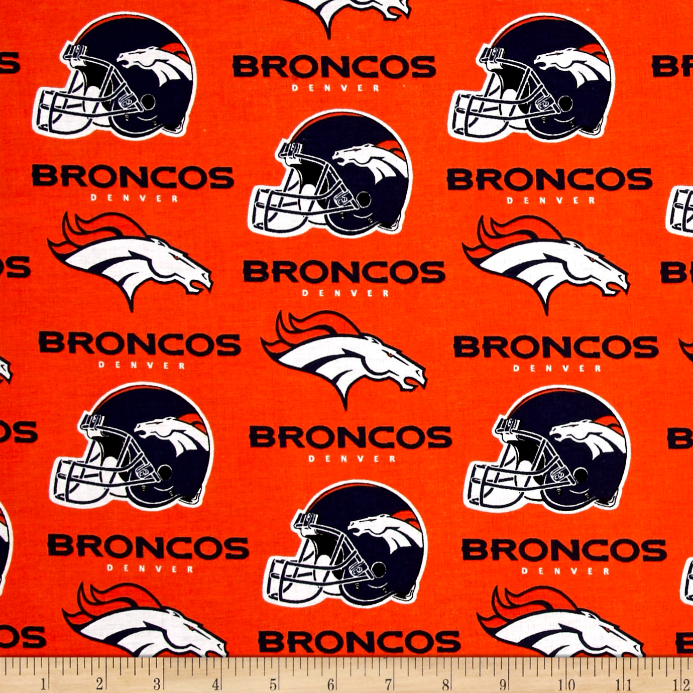 NFL Cotton Broadcloth Denver Broncos Orange Fabric by Fabric Traditions in USA
