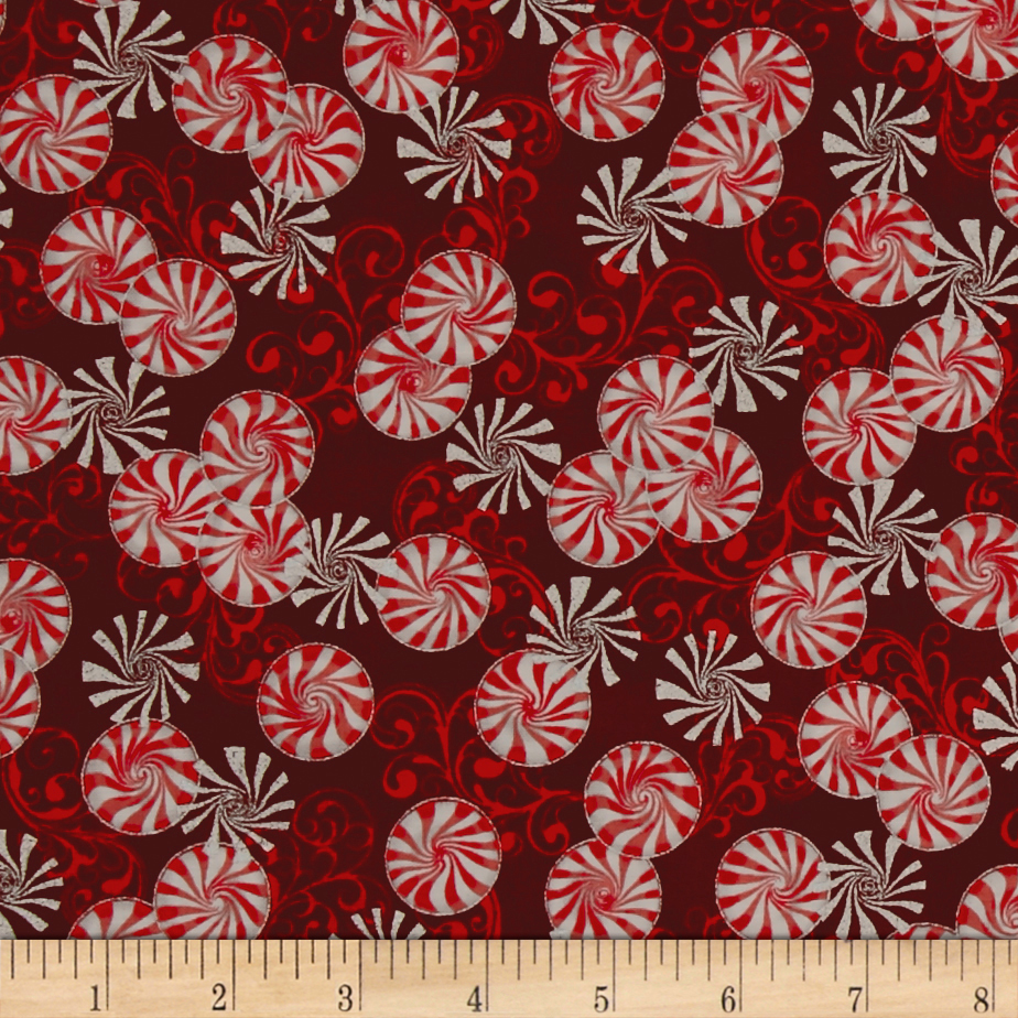 Suite Christmas Metallic Peppermint Twist Cinnamon Fabric By The Yard