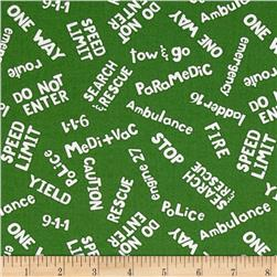 Zip Zoom Words Green Fabric