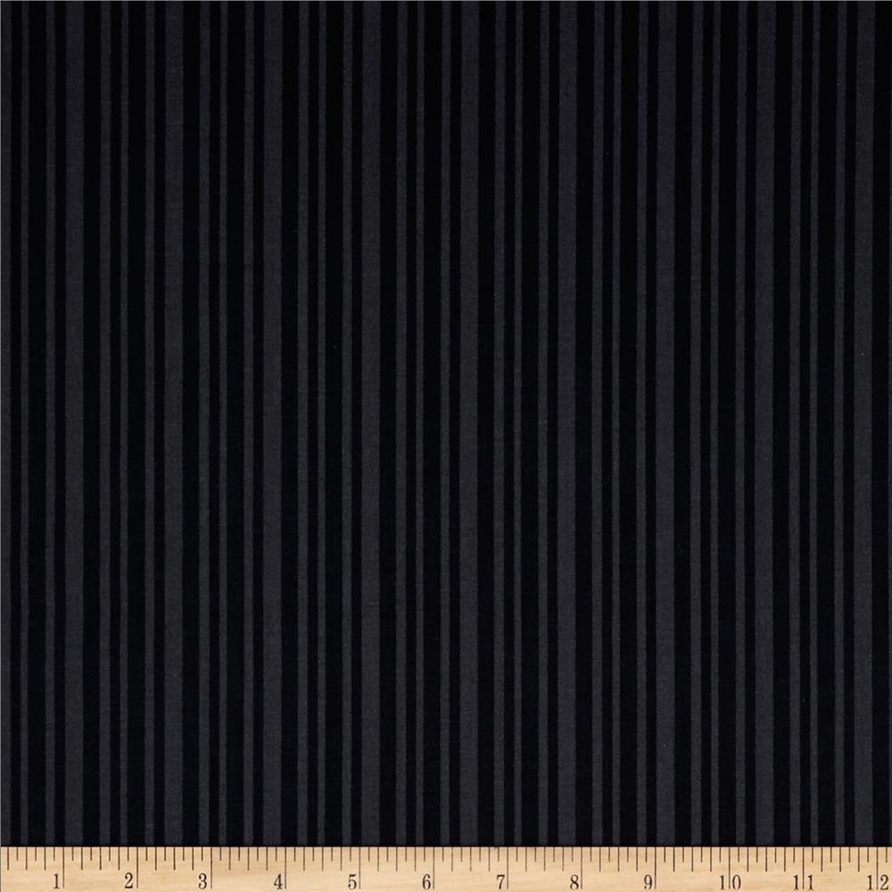 Moda Shades Of Black Laughing Stripes Tonal Black