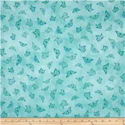 Serenity Prayer Butterfly Toile Med Aqua