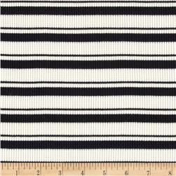 Designed Stretch Thermal Knit Stripes Black/Ivory