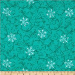 Flannel Tossed Snowflake Swirl Teal
