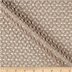 International Designer Crochet Lace Taupe/Silver