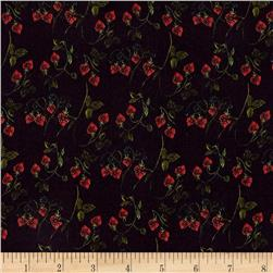 Liberty of London Kensington Crepe de Chine Strawberry Fields Navy Blue/Green/Red
