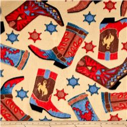 Fleece Prints Western Boots Beige/Red