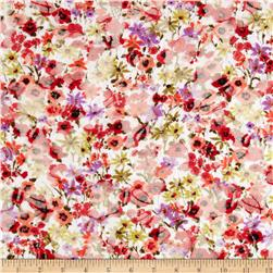 Printed Lace Spring Floral Ivory/Black/Red/Orange Fabric