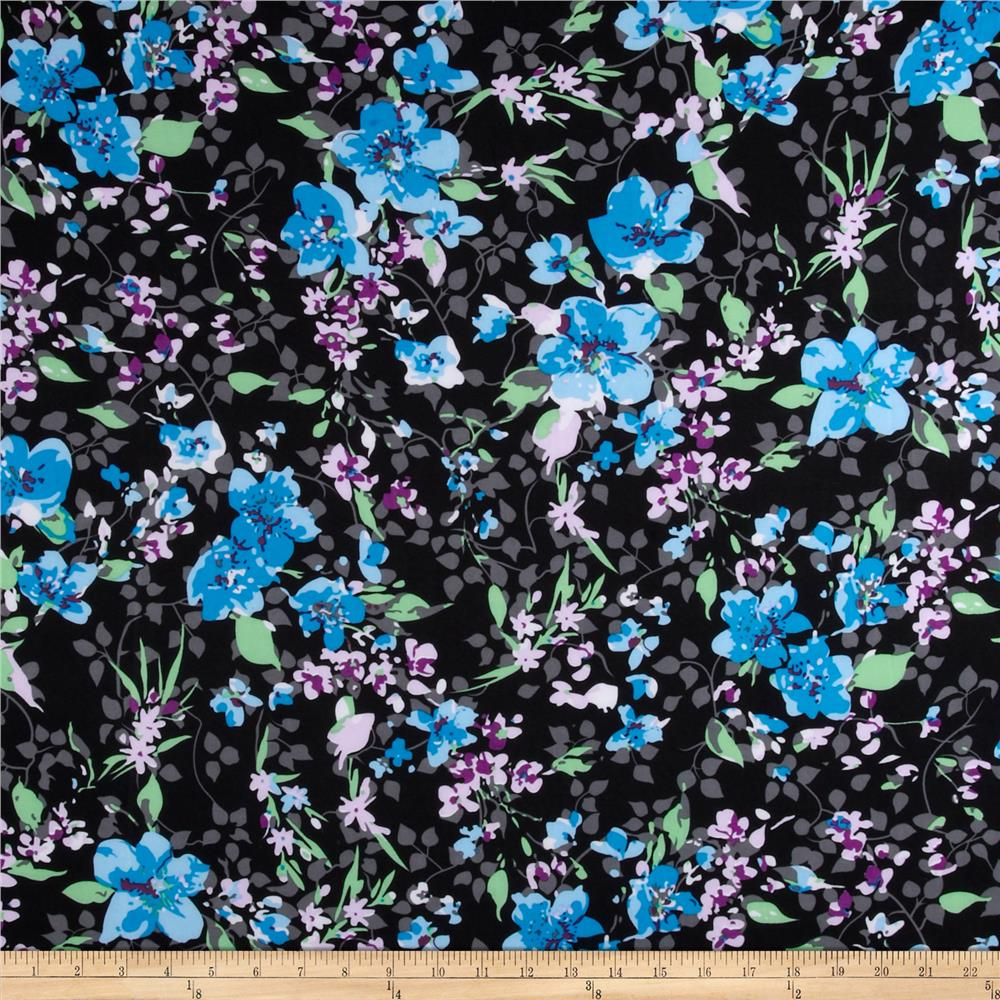 Silky Stretch ITY Jersey Knit Floral Blue/Black