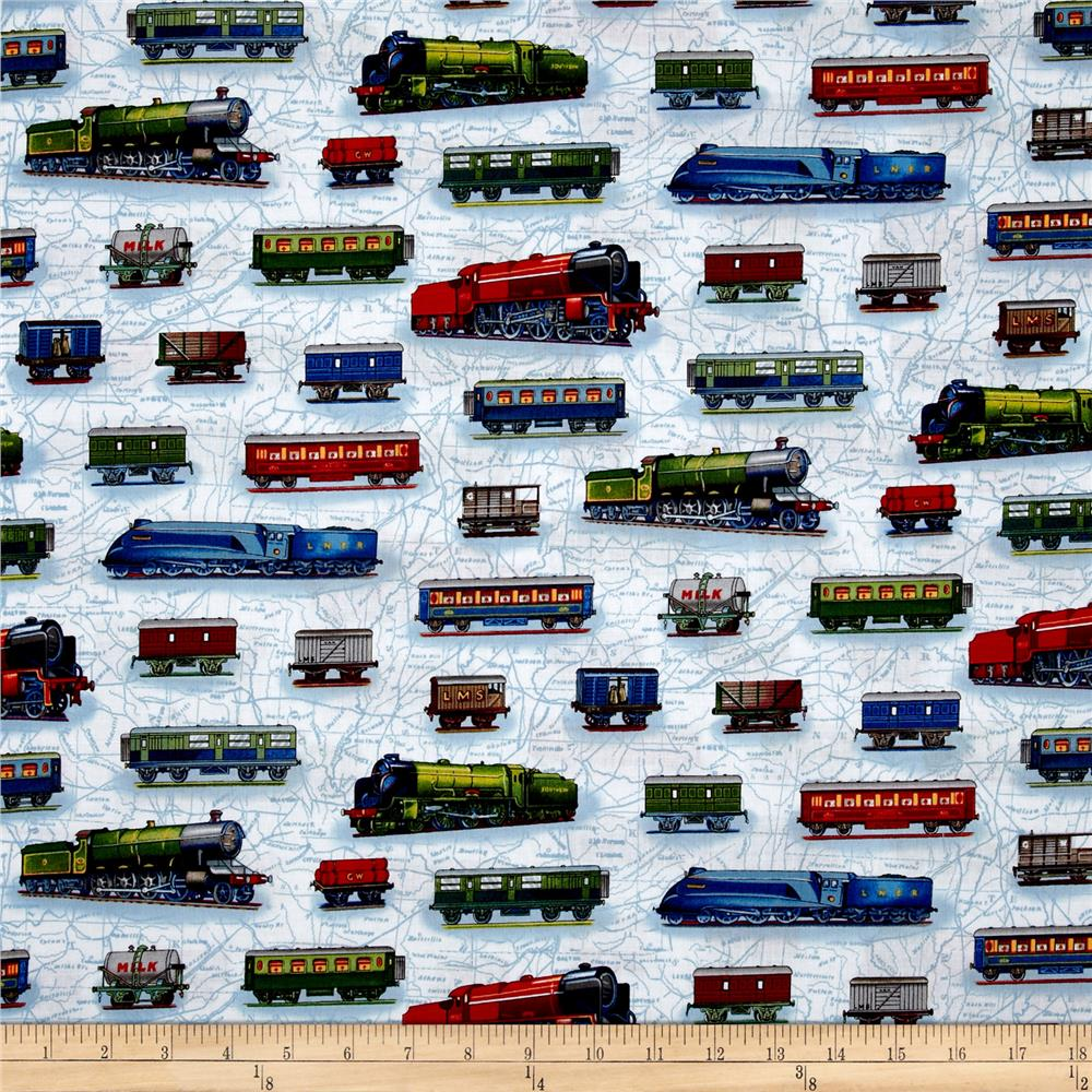 All aboard train cars bright discount designer fabric for Train print fabric
