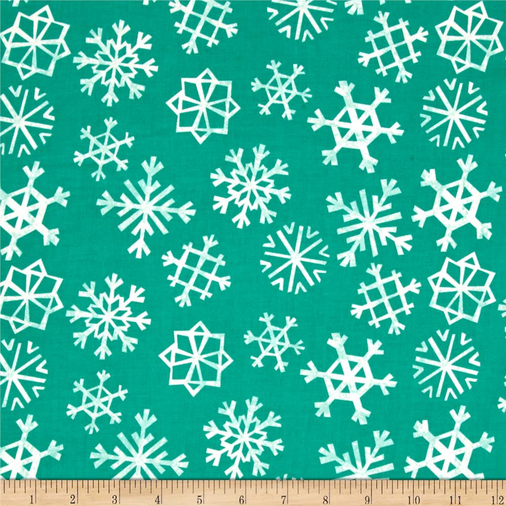 Cotton + Steel Garland Snowflakes Teal