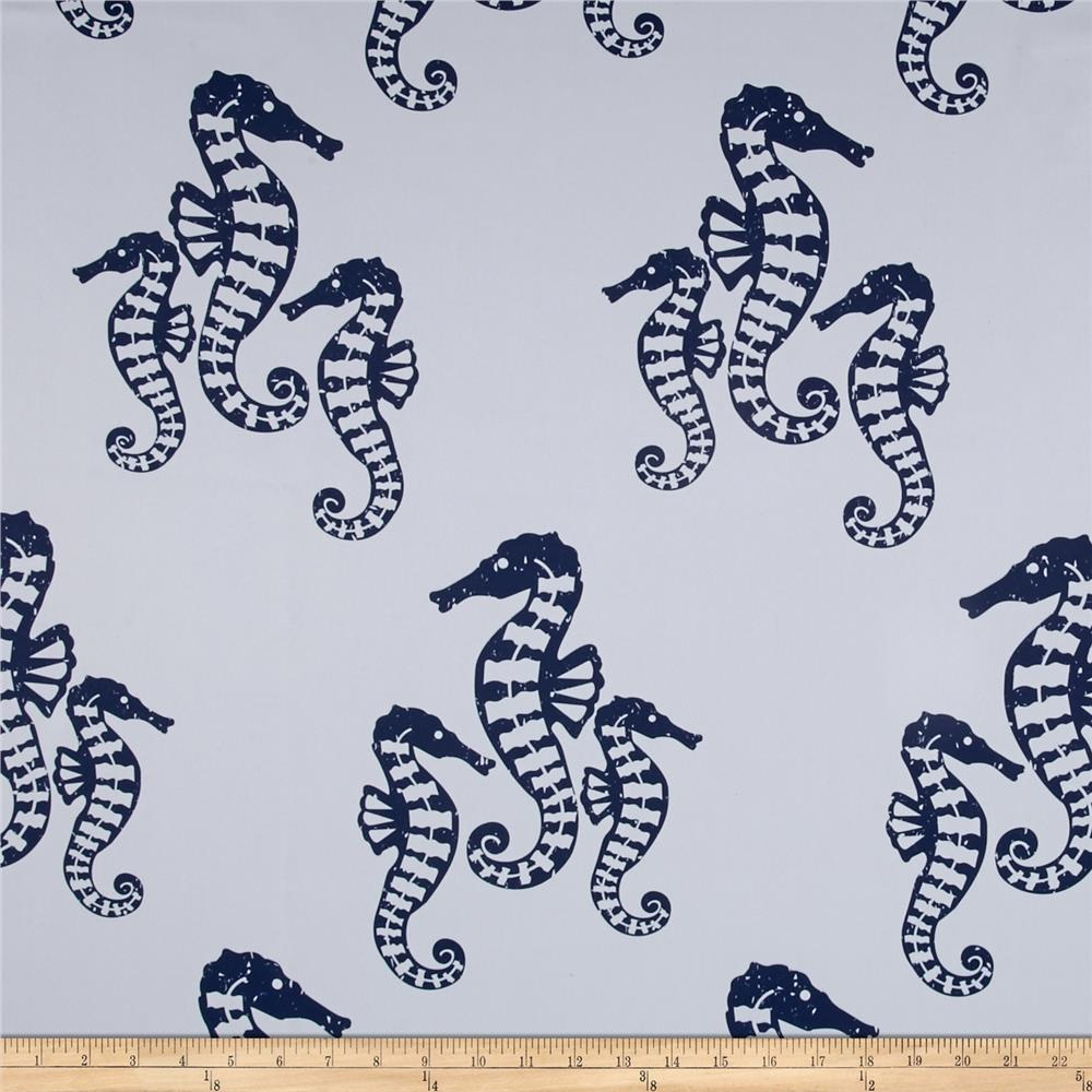 RCA Blackout Drapery Fabric Seahorses Navy