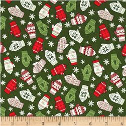 Riley Blake Comfort and Joy Mittens Green