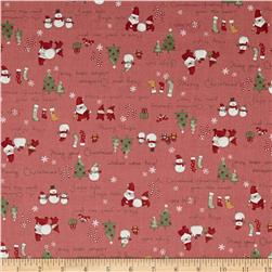 Lecien Merry Taupe Christmas Words Red