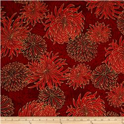 Kaufman Imperial Collection Metallic Flower Spray Crimson