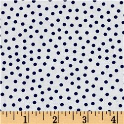 Mardi Gras Small Dot White Navy