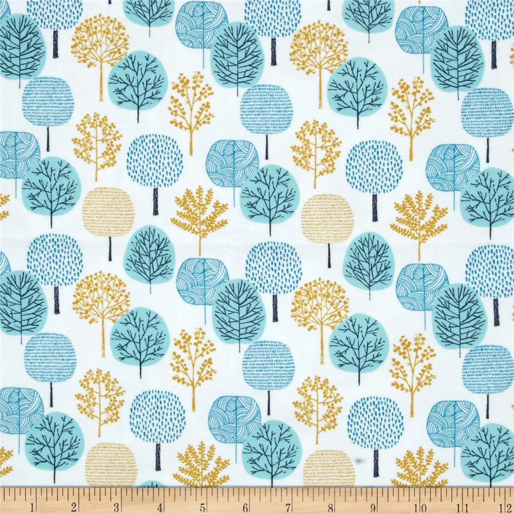 Cloud 9 Organic First Light Flannel Passing Forest Turquoise