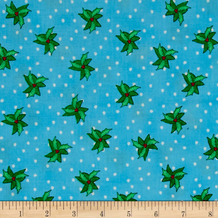 Christmas Wishes Bits Of Holly Morning Sky Fabric By The Yard