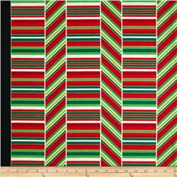 Kanvas Deck the Halls Metallic Peppermint Stripe Red/Green/White