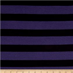 Yarn Dye Jersey Knit Black Stripe on Plum