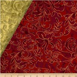 Season's Greetings II Double Face Quilted Swirl Red/Gold
