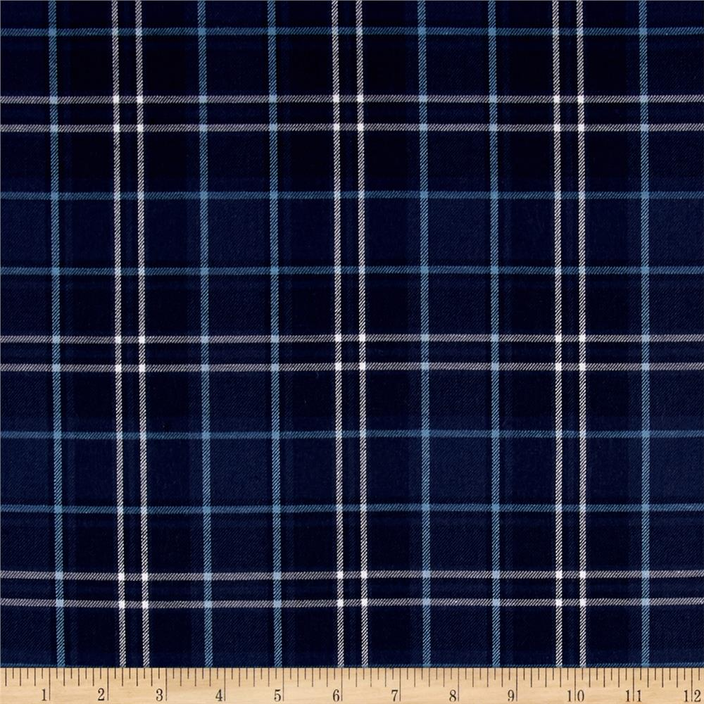 Kaufman Indigo Plaid Shirting Navy