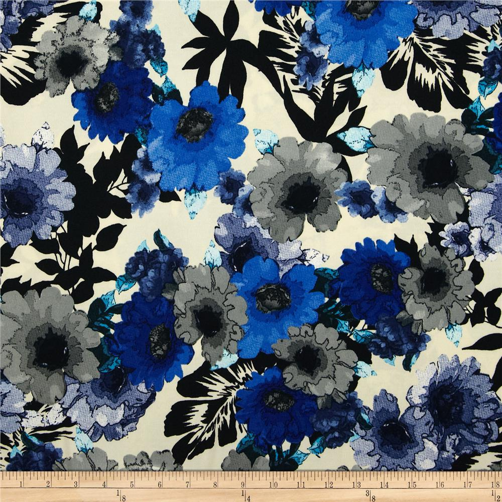 Brazil Stretch ITY Print Floral Grey/Royal/Black/Cream