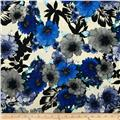 Brazil Stretch ITY Jersey Knit Floral Grey/Royal/Black/Cream