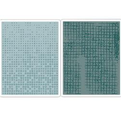 Sizzix Texture Fades Embossing Folders Dot-Matrix & Gridlock Set