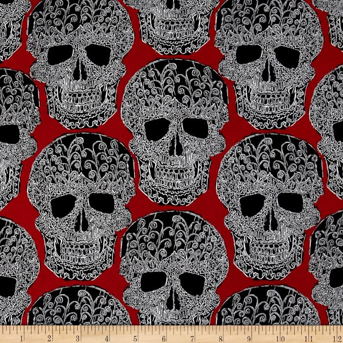 Michael Miller Skulls Out Art Skull Red