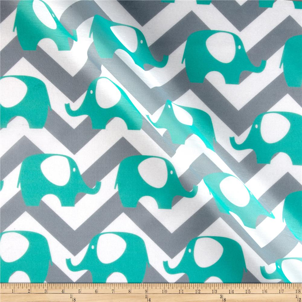 RCA Elephant Chevron Sheers Aqua Mist/Grey