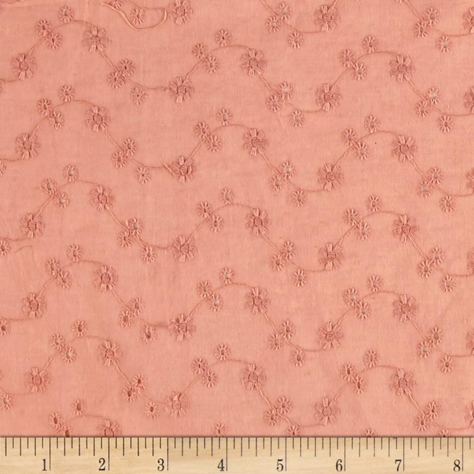 Cotton Eyelet Vines Dusty Rose